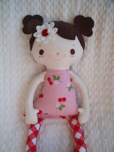 cloth doll handmade by me using fabric designed by Lori Holt  and a  bit of whimsy pattern