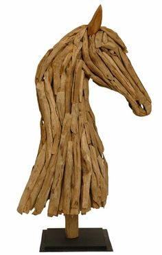 Unusual Vintage 47 inch Driftwood Horse Head Sculpture | 2 Available