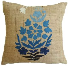Blue Ombre Folkart Raw Silk Pillow