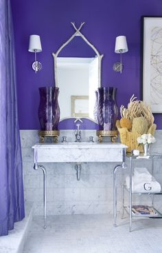 Bold purple coastal bathroom - Fabulous!!!