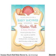 Summer Beach Shell Baby Shower Invitation