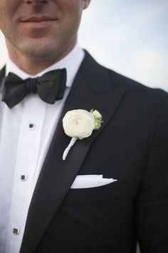 White Ranunculus Boutonniere | Country Club Flowers | Sarah Bray Photography | TheKnot.com