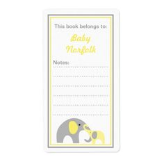 Mother and Baby Elephants Yellow Gray Bookplates Shipping Label
