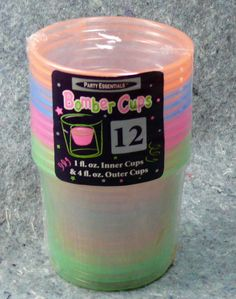 Bomber Cups 4 oz Plastic Party Essentials Assorted Neon 12 N491 booze shots NEW #PartyEssentials #PartyPicnicPoolweddingmancave