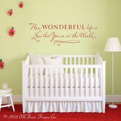 What a great idea for a nursery!!  Awesome wall art.. Elton John lyrics. L0ve it.