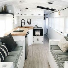 33 Cozy Decor & Design RV Family for Holiday Love this caravan makeover! So nice to see a monochrome scheme. I might do similar for our next caravan renovation! The post 33 Cozy Decor & Design RV Family for Holiday appeared first on Urlaub. Caravan Makeover, Caravan Renovation, Camper Makeover, Home Renovation, Home Design, Tiny House Design, Home Interior Design, Interior Ideas, Design Ideas