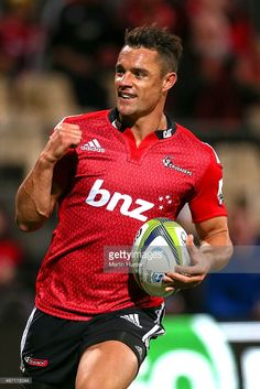 1a4c8ea265c Dan Carter of the Crusaders celebrates scoring a try during the round six Super  Rugby match