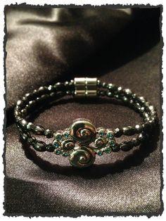 Fancy Swirl Aqua Stone Charm Double Magnetic Bracelet $24.00