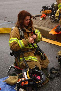 Fireman and woman having hot sex
