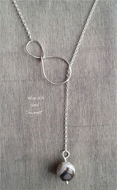 Y necklace with agate bead handmade in wire-wrapped recycled sterling silver and Botswana agate by Harsh and Sweet.