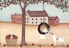 Jack Russell Terriers (JRT / Parsons) enjoy apple harvest time / Lynch signed folk art print by watercolorqueen on Etsy