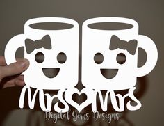 Mrs And Mrs Kawaii Mug Papercut Template SVG / DXF Cutting Files For Cricut / Silhouette & PDF Printable For Hand Cutting, Download by DigitalGems on Etsy