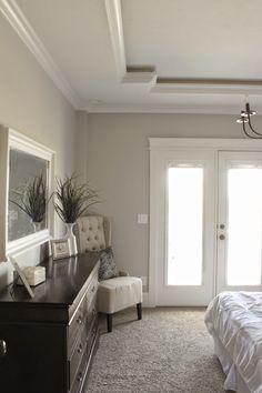 Bedroom. Unique Tray Ceiling. Sherwin Williams Repose Gray.