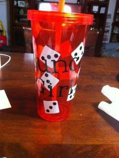 bunco! Cute idea to paint on cups. Plus add the extra touch of adding person name.