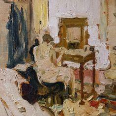 "terminusantequem: ""Mario Cavaglieri (Italian, 1887-1969), Davanti allo specchio, 1911. Oil on board "" Mario, Vincent Van Gogh, Aesthetic Art, Fine Art, History, Crafts, Photography, Inspiration, Paintings"