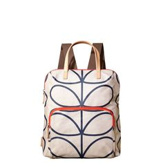 Orla Kiely Matt Laminated Linear Stem Print Backpack in Stone/Navy Orla Kiely Bags, Mobile Pocket, Laminated Fabric, Rucksack Backpack, Women Brands, Beautiful Bags, Purse Wallet, Bag Making, Purses And Handbags