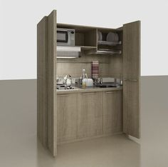 Mini kitchen with folding doors ZEUS Office Kitchenette, Mini Kitchen, Folding Doors, Small Apartments, Bathroom Medicine Cabinet, Interior, House, Kitchens, Hotels
