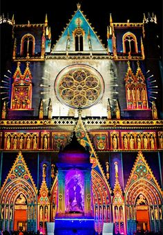 Festival of Lights, Lyon cathedral, France