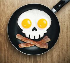 Start your day with a fried side of fun!  Skull shaped Eggs!!!