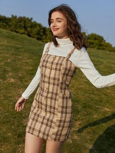 Cute Casual Outfits, Outfits For Teens, Pretty Outfits, Casual Dresses, Stylish Hoodies, Check Dress, Pinafore Dress, Overall Dress, Swagg