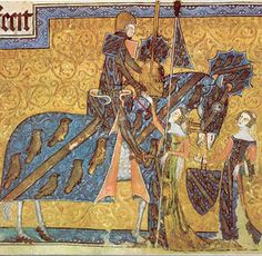 heraldic dresses - Sir Geoffrey Luttrell being seen off to tournament by his wife (Agnes Sutton) and daughter in law (Beatrice Scrope). Luttrell Psalter 1335-1340. English British Library