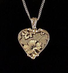 Broken china jewelry antique black and white English transferware heart pendant necklace