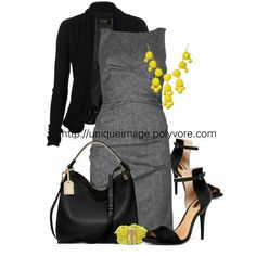 Gray dress. Yellow accessories.