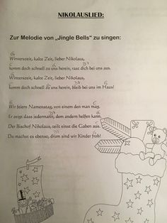 Nikolauslied - Kindergarten - - New Ideas Kindergarten Portfolio, Kindergarten Songs, Kids Songs, Happy Kids, Kids Christmas, Religion, Language, Teaching, Education