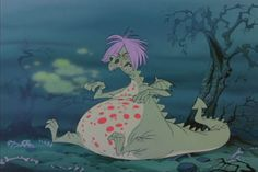 The wizard, Merlin, makes Madam Mim sick in the wizard's duel ~ in Disney's THE SWORD IN THE STONE