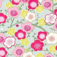 Papier Japonais Washi, Yuzen, Chiyogami, fleurs roses, blanches et vertes, chez Adeline Klam