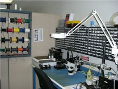 VT Unmanned System Electronics Laboratory.  Very organized component and wire storage.