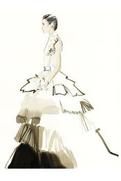 David Downton blog - Couture Week in Paris was a neutral affair - Illustrations (Vogue.com UK)