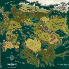 I made this map for the new German RPG splittermond. Fantasy Map Making, Fantasy City Map, Fantasy World Map, Fantasy Places, Fantasy Rpg, Dnd World Map, Rpg World, Imaginary Maps, Rpg Map