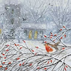 """Robin and Rosehips"" Suffolk Original Paintings For Sale Winter Illustration, Christmas Illustration, Illustration Art, Christmas Scenes, Christmas Art, Original Paintings For Sale, Photo Images, Naive Art, Winter Art"