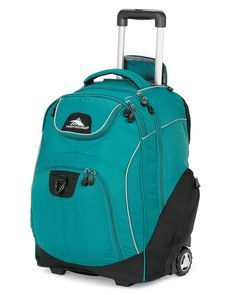 4b435b9cc1 High Sierra Rolling Backpack for teens. Has a padded laptop pocket and a  media pocket with headphone port.