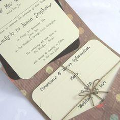 Polka Dotty Handmade Pocketfold Wedding Invitation