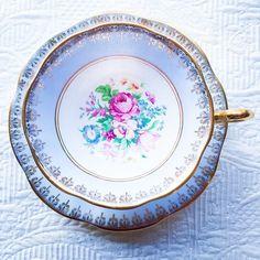 Lovely Blue Floral Grosvenor set. #thebelovedteacup #grosvenor #teacup #antique #goldgilded #vancity #vancouverstyle #vancouverantiques #vancouverweddings