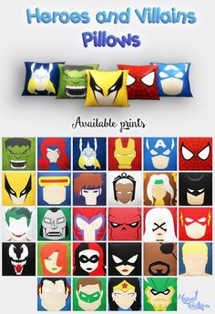 Heroes and Villains pillows at Victor Miguel • Sims 4 Updates