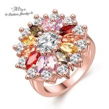 2016 new Hot Sale Fashion brand jewelry colorful crystal flowers Rose gold Wedding ring for women Free Shipping