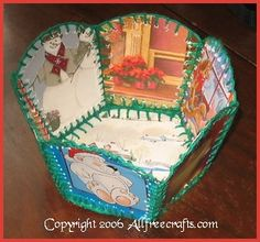 Greeting Card Basket/Container - raise your hand if you remember these but forget how to do them. The post takes you to a tutorial that not only shares step-by-step instructions, it includes a downladable template.