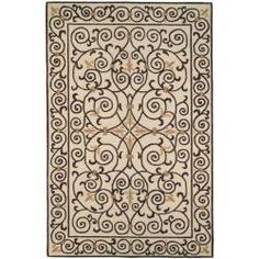 Hand-hooked Chelsea Irongate Ivory Wool Rug (89 x 119)