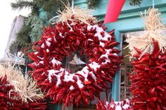 Holiday wreaths | 19 Words That Have A Totally Different Meaning In New Mexico HOLIDAY WREATHS:What other people think it means: A circular decoration fashioned from rejected Christmas trees.  What people from New Mexico know it means: Leave those evergreen branches on the ground where you found them. Ristras — made of drying (and edible!) red chiles — are the way we celebrate the season.