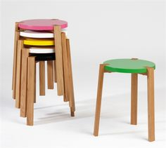 Happy Colorful Wooden Stool by A2 | Polos Furniture