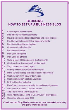 Start right from the beginning and set up a great blog for your home business that will grow your business and inspire your readers.