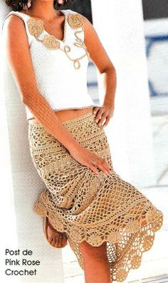Beige Summer Skirt free crochet graph pattern