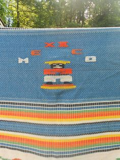 1940s Mexican Hand Woven Blanket by electricbluebird on Etsy, $58.00