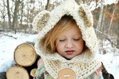 Cowl - Kids Cowl - Kids Scarf - Honey Bear Cozy Cowl Hoodie - Handcut Birch Button