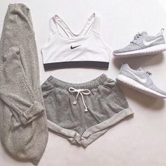 Nike sports bra and Roshes, with grey cotton shorts and grey kimono