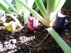 Snail plant pals clay potted plant decor by LuckyCloverAcres