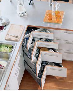 Organisation Kuchen Schubladen Eckig Stauraum Toepfe Geschirr Platzschaffend